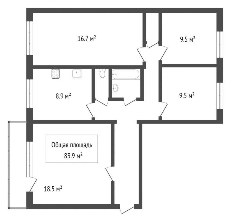широкая, 111, 4-к квартира